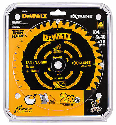 Dewalt DT1668 EXTREME Cordless Mitre Saw Blade 184mm 40 Tooth 40T DCS365