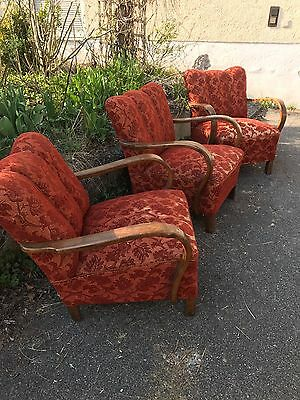 Art Deco /Easy /vintage /Mid Century Armchair, Beautiful In Flower Red Fabric