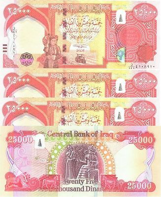 100,000 NEW IRAQI DINAR CURRENCY 2014 WITH SECURITY FEATURES 4 x 25,000 25000