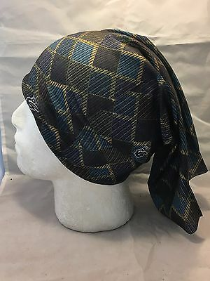 Multifunction head wrap neck tube scarf mask hat BLACK BLUE SQUARE cycle hike