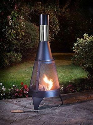 Outdoor Garden Chiminea Patio Heater Chiminea Bbq Chiminea Black 120Cm