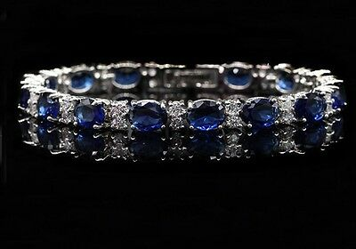 925 Sterling Silver Oval Shaped Blue Sapphire & White Topaz Tennis Bracelet 7""