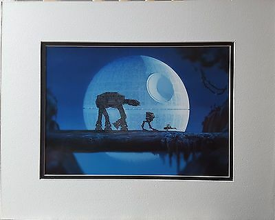 Star Wars AT-AT, AT-ST and Speeder Bike Animation Cel Over Death Star Lion King