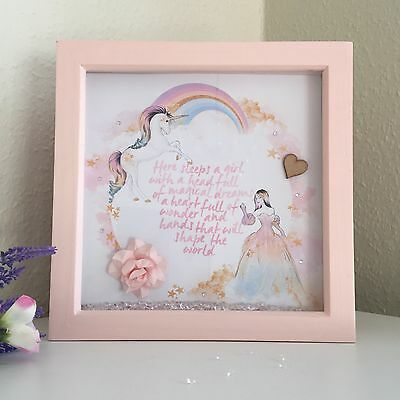 Gift for Baby Girl Nursery Picture Quote Princess Unicorn Box Frame Baby Shower