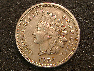 1859 Indian Head Cent Choice VF+ details