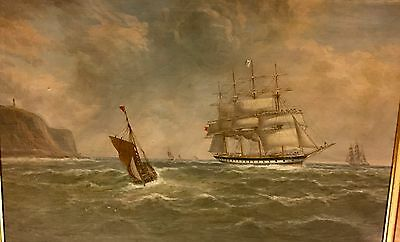 """W.Mitchell 1894 Oil Painting Ancient Ships Maritime Oceanscape Seascape 27x39"""""""
