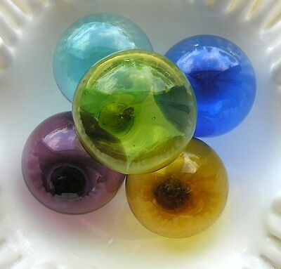Lot of 5 Hand Blown Glass Fishing Balls Multi Color Pontil Mark