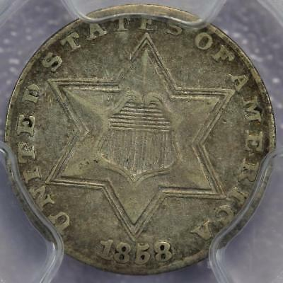 1858 Three Cent Silver PCGS VF35 CAC - Eye Appealing *DoubleJCoins* 601A10