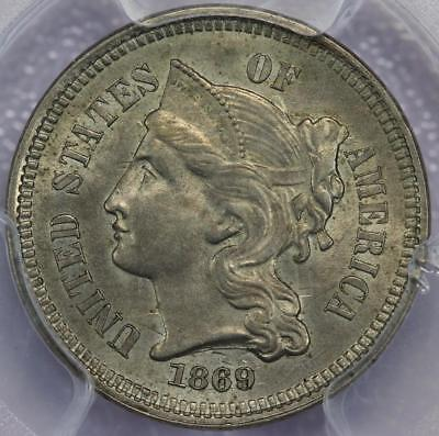 1869 Three Cent Nickel PCGS MS62 - Die Clashes! -  *DoubleJCoins* 601A11