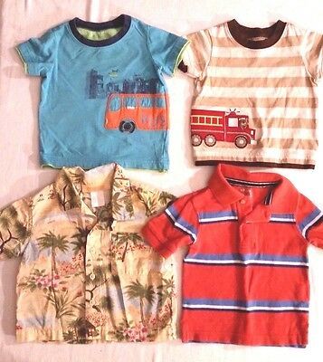 Boys Lot of 4 Short Sleeve Tops Size 6-9 Months