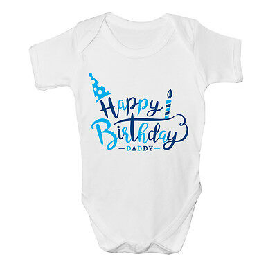 Happy Birthday Daddy Boys Kids Present Cute Baby Grow Body Suit Vest New Gift