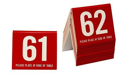 Plastic Table Numbers 61-80 Tent Style, Red w/white number, Free shipping