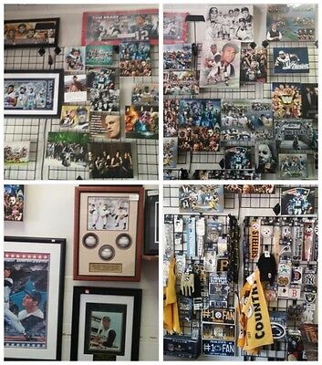 sports collectibles business. Magic the gathering, video games. Large inventory.