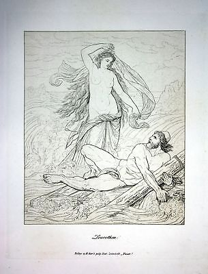 1857 Leucothea Leukothea nackt nude Mythologie mythology Radierung etching Rahl