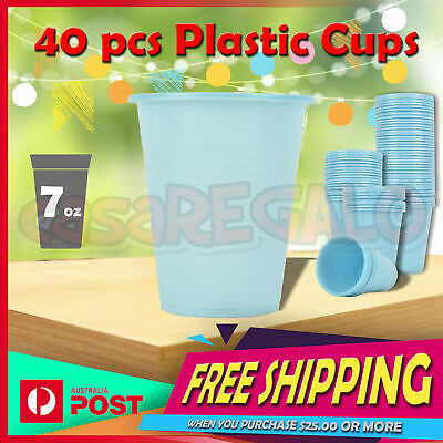 40x Disposable Plastic Cups - Party Supplies Round Dinner Plates Bowl Colored