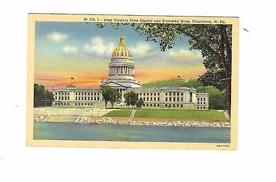 Vintage Postcard Linen West Virginia State Capitol  Kanawha River Charleston WVA