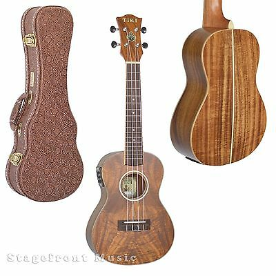 TIKI UKULELE KOA SERIES 9 TENOR SIZE ACOUSTIC/ELECTRIC UKE w/CASE - TKT-9P