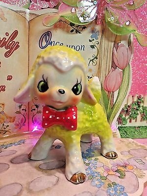 Vtg Anthropomorphic Story Book Lamb Sheep W Red Polka Dot Bow Tie Pebbled Fur