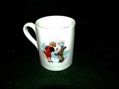 BUSTER BROWN  SHOES ADVERTISING CHILD'S CUP with GIRL and PUPPY