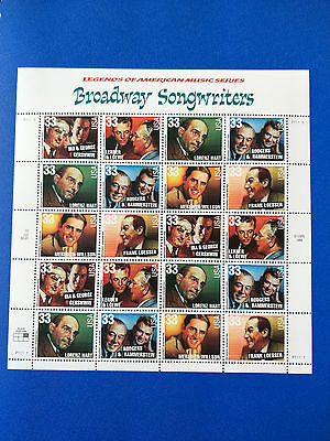 US 33c Broadway Songwriters Stamp Sheet Mint Never Hinged-Free Postage!