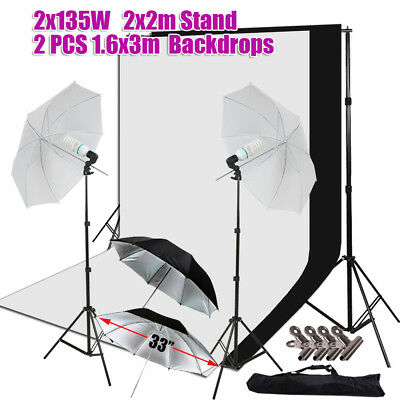 1350W Photo Video Studio Lighting Photography 2 Backdrops Stand Photo Light Kit
