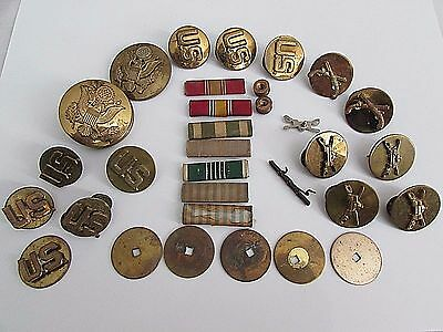 Vintage Lot of US Military Army Brass Lapel Pins & Ribbons Few N.S. Meyer Signed