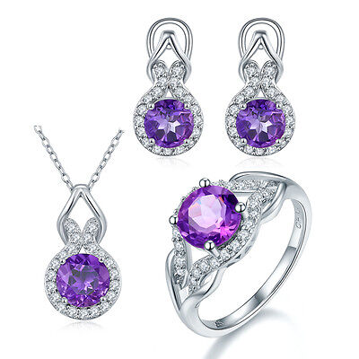 Eternity Natural Amethyst Jewelry Sets 925 Sterling Silver Pendant Ring Earrings