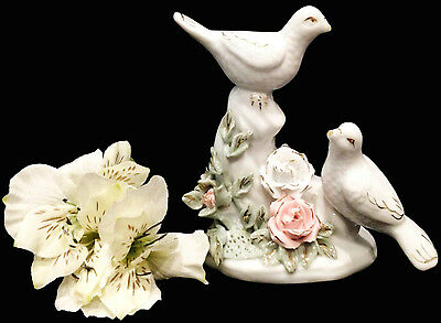 "Antique Vintage Victorian Porcelain 6"" Group ""Two Lovely Doves""- Excellent Cond!"