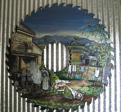 Hand Painted Circular Saw Old Time Washing Day Commissioned Painting - One Of