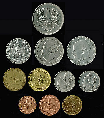 "GERMANY:- Munich ""D"" mint mark 11 different post WW2 pre Eurozone coins. ADP6018"