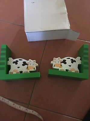 Brand New Country Cow Farm Book Ends Green White Black