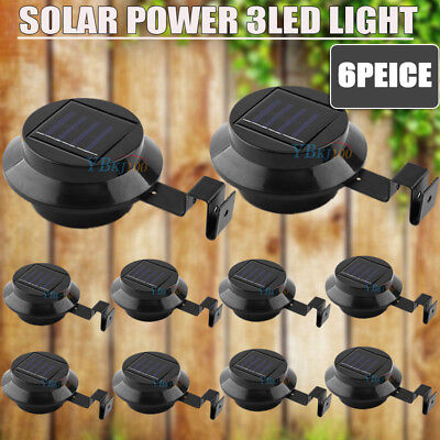 6X Solar Powered Gutter Fence 3 LED Lights Pathway Lamp Garden Outdoor AU Ship