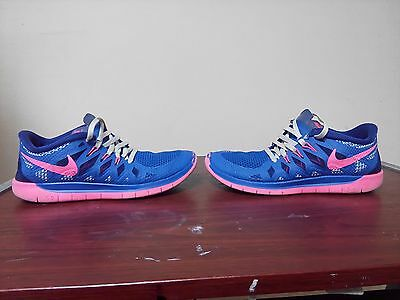 Nike Free run 5.0 blue pink girls size 4.5y 4.5 youth running shoes 644446 400