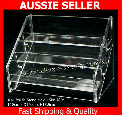 Nail Polish Display Stand 3 Tier Hold 15 -18 Clear Acrylic Rack Fit OPI Polish