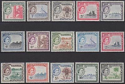 GAMBIA 1953 QUEEN ELIZABETH II FULL SET OF (15) 1/2d TO £1 O.GUM MVLH SG.171/185