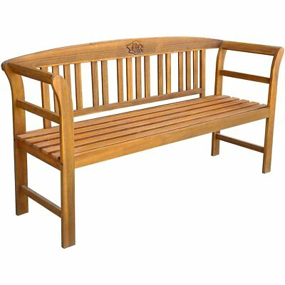 #Rose Garden Bench Outdoor Seating Acacia Wood Backrest Patio Park Furniture