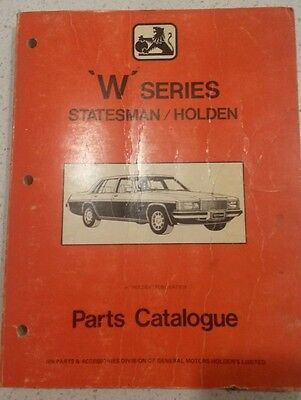 Holden & Statesman 'W' series parts catalogue  (WB) Collectable