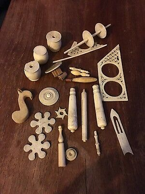 Ivory antique lace making equipment