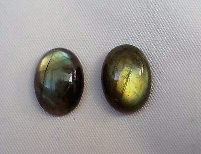 Loose Natural Fire  Labradorite Gemstone 2 of 13x18 mm Oval Cabs Cabochons