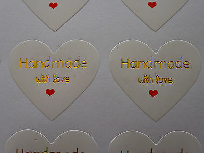 36 Hand made with Love Label Sticker Seal Bonbonniere Favour Craft Gift Card