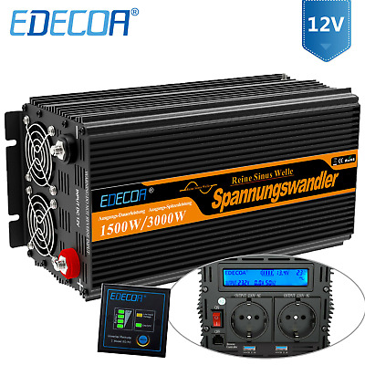 Convertisseur 12V 220V 230V 1500W 3000W pure sinus onduleur LCD Power Inverter