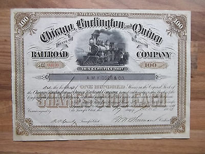 "Aktie ""Chicago, Burlington and Quincy Railroad Company – 100 Shares 1886"""