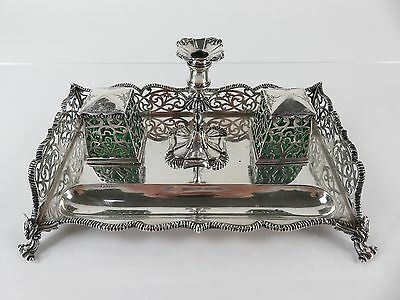 George & Charles Fox Sterling Silver Taperstick Inkwell Inkstand, London, c1843