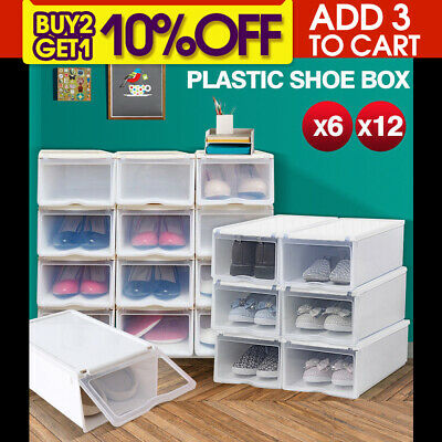 6/12PCS Storage Clear Drawer Shoe Boxes Stackable Foldable Case Home Wardrobe