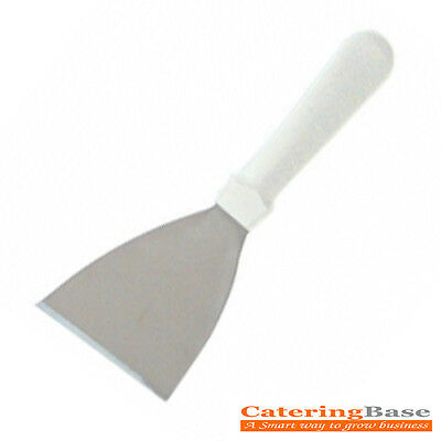 "Professional Griddle Scraper Stainless Steel SCRAPER 4.5"" WHITE HANDLE"