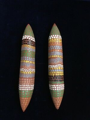 Vintage Aboriginal Dot Painted Wooden Clapsticks