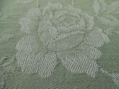 FABULOUS PANEL OF VINTAGE FRENCH LINEN DAMASK TICKING FABRIC - Cabbage Roses