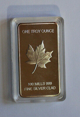 1(One) TROY OUNCE BAR Mint Clad W/ REAL Pure 999 Fine Solid Silver coin g10grarw