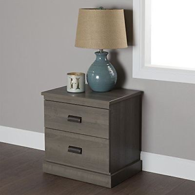 South Shore Furniture Gloria 2-Drawer Nightstand, Gray Maple