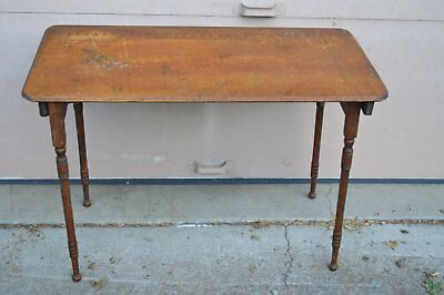 Antique Maple Folding Sewing Table Original Finish Measured Markings VGC